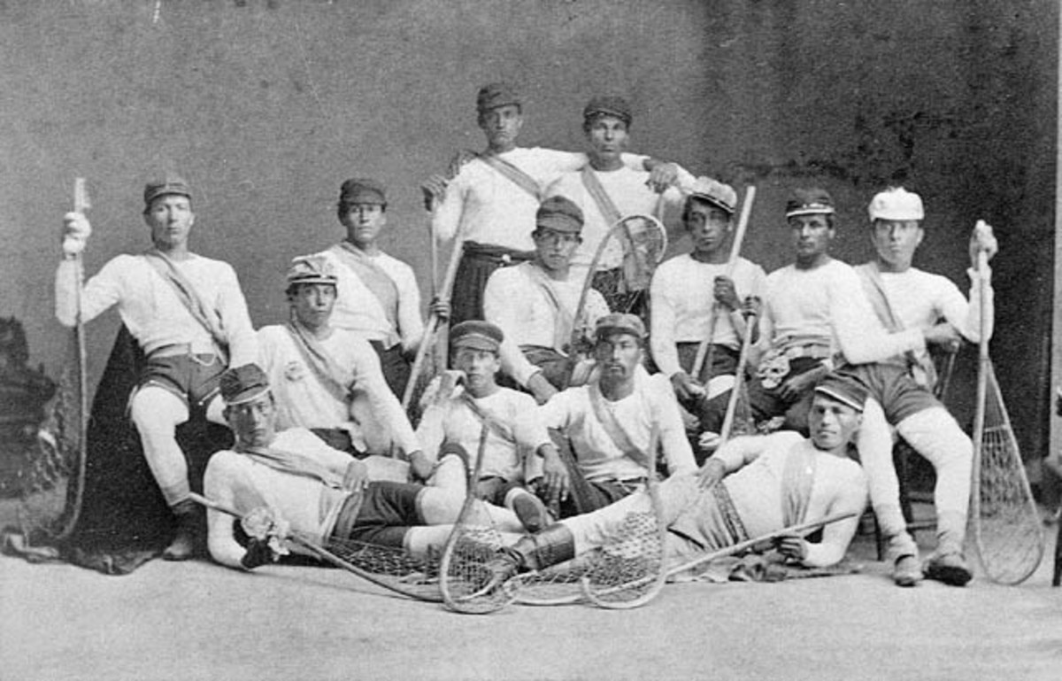 Mohawk team, Iroquois Confederacy members ready to play Lacrosse.