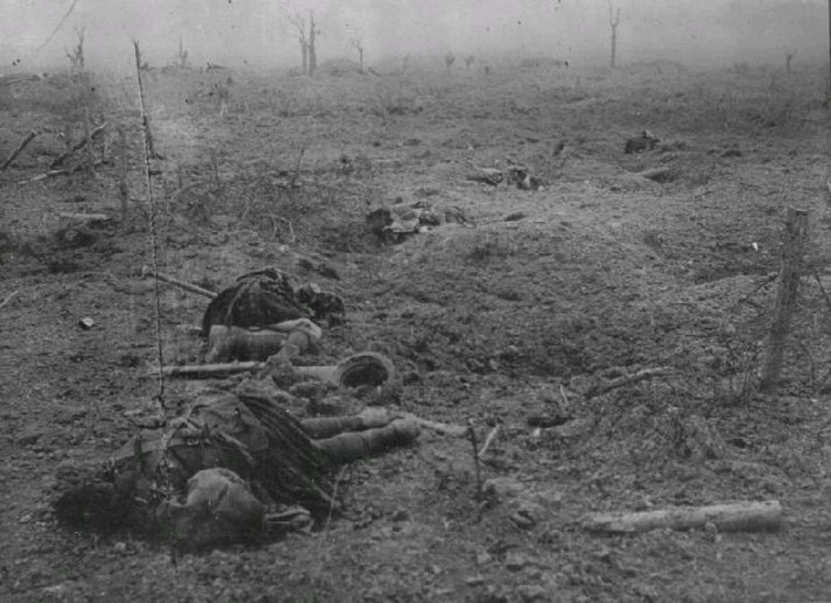 Caught in open ground tangled in the barbed wire and facing enemy machine gunners, meant only one thing.  Here an entire regiment were slaughtered within 20 minutes.