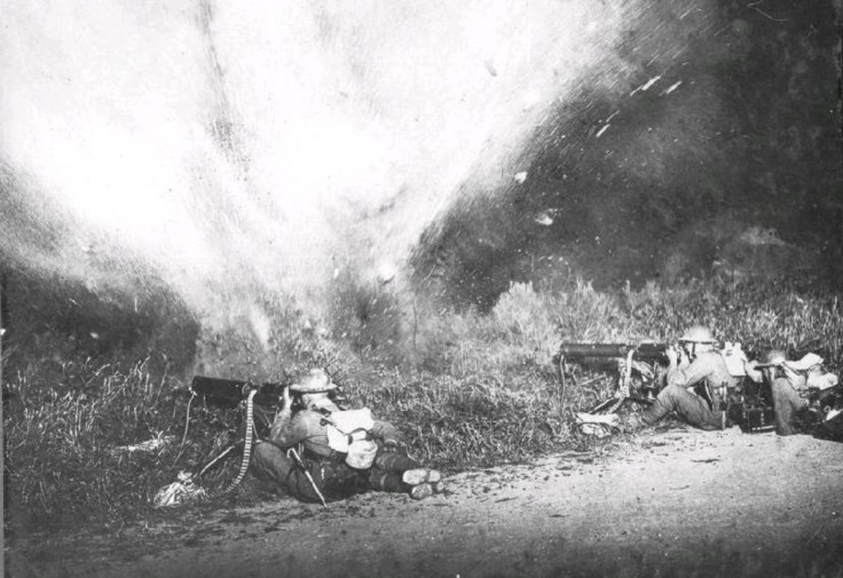 Anzac machine gunners repel a German charge. Constant bombardment from the big guns on both sides, shattered ear drums, confidence and spirits.  The generals avoided such things at all expense!  What did they know?