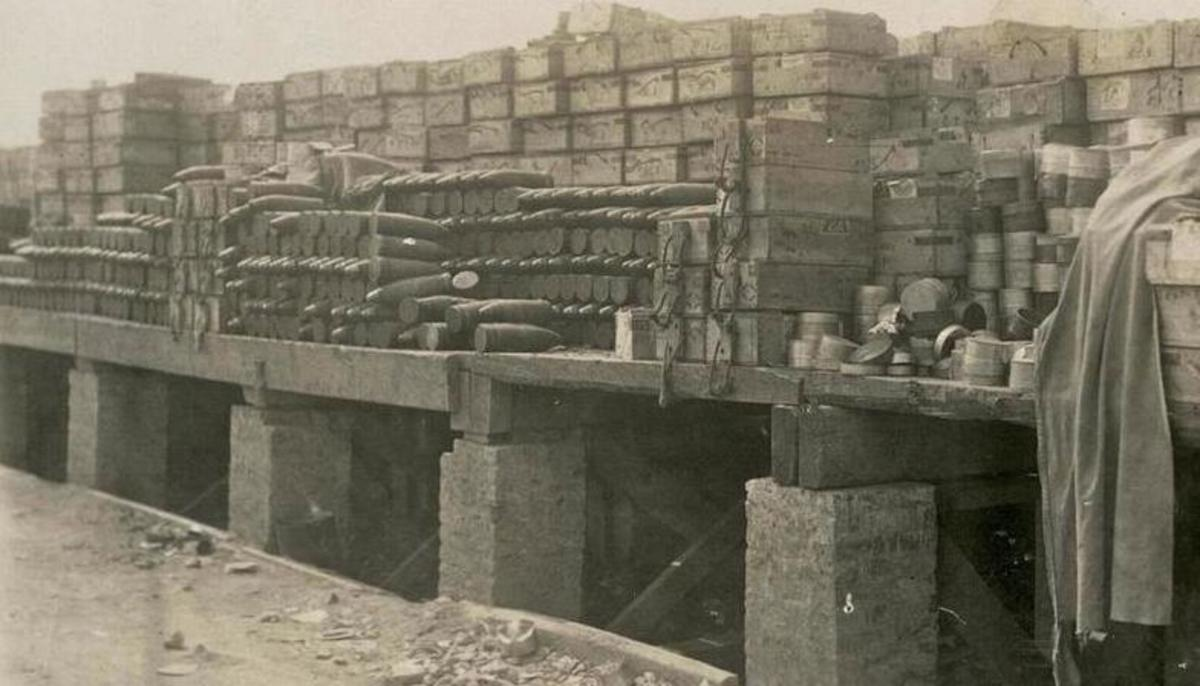 War is just a great business if you make ammunition or machinery.  This is a basic ammo dump on the Western Front.