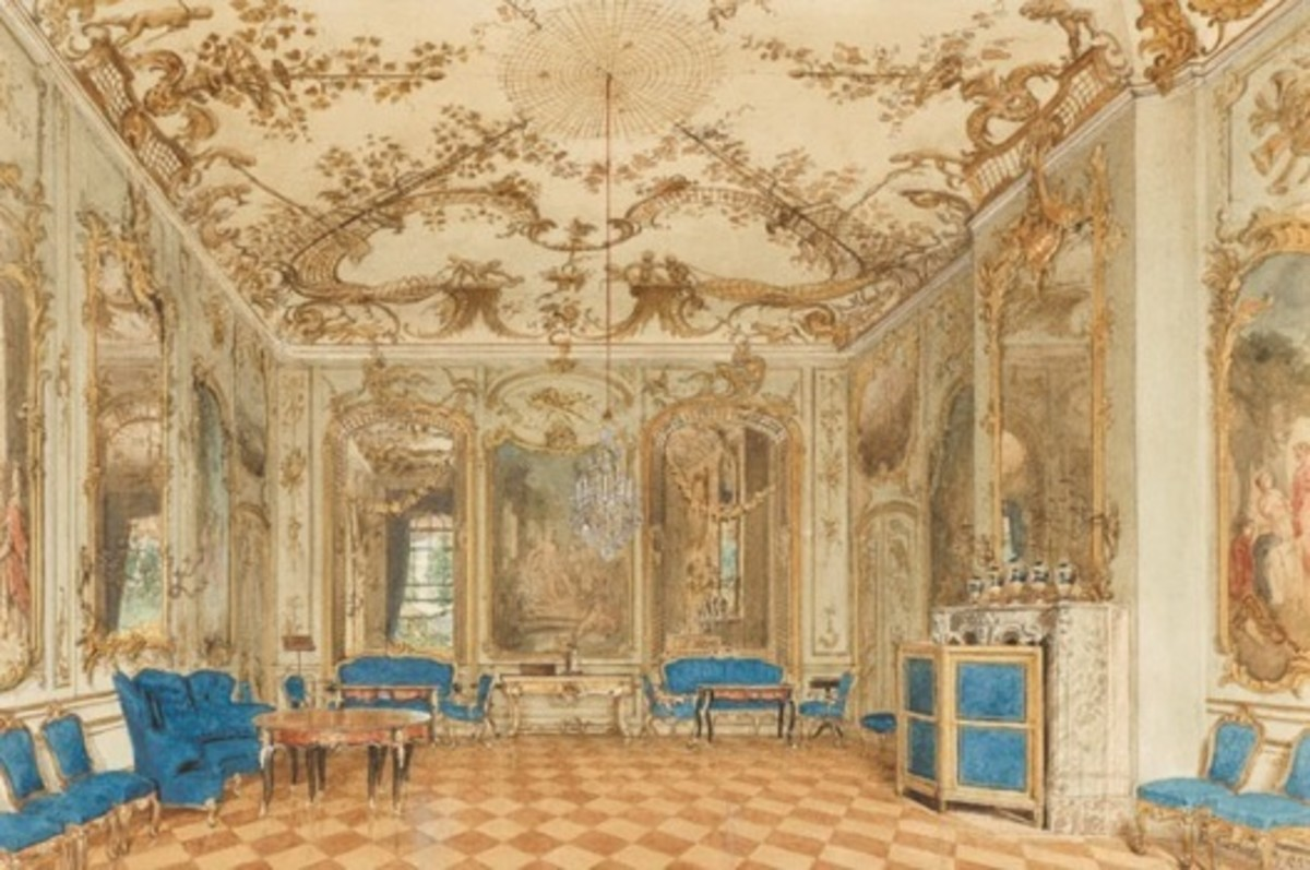 Rococo Concert room of Sanssouci Palace, Potsdam Germany designed by Eduard Gaertner (1801-1877)