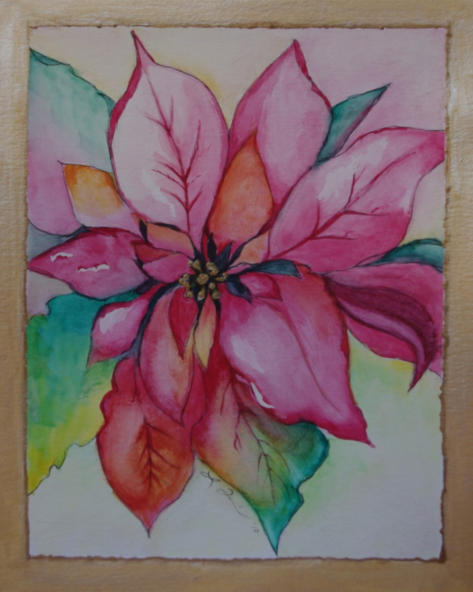 Learn how to paint a beautiful watercolor poinsettia for Painted christmas cards