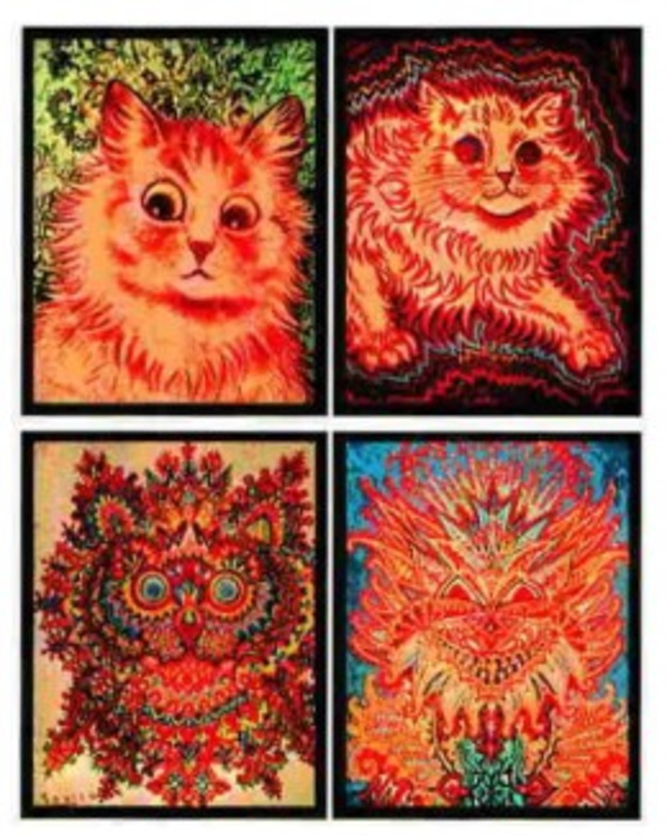 Artist Louis Wain's cat paintings mark his gradual descent into schizophrenia