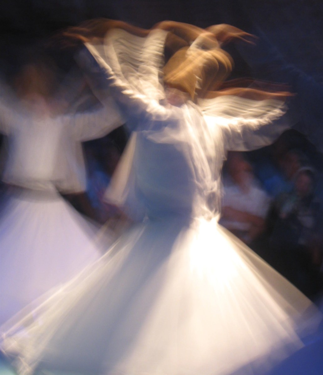 Turkish Whirling Dervishes dance the Sema, a sacred prayer-trance that induces religious ecstasy