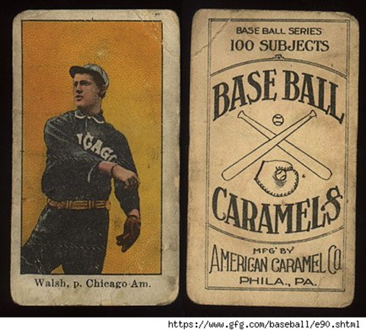 Old baseball caramels card.