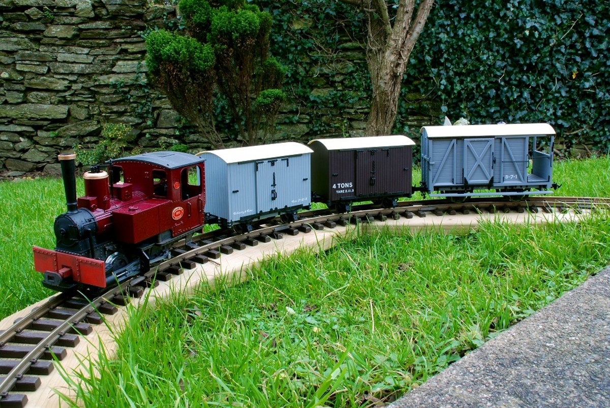 Converted LGB locomotive and Accucraft UK rolling stock and brake van on my Temporary Garden Railroad.    David Lloyd-Jones 2010