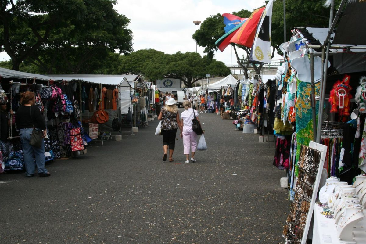 Looking down the long line of vendors at the Swap Meet