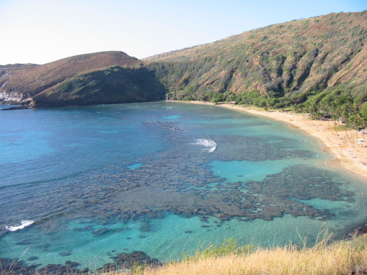 View from above Hanauma Bay nature park