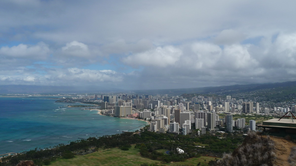 Overlooking Waikiki from the top of Diamond Head