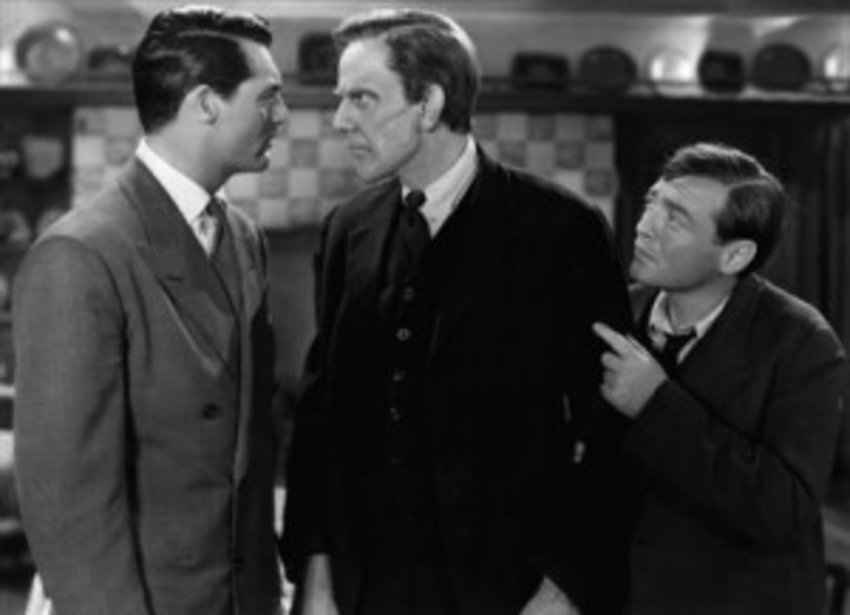 Grant, Raymond Massey, and Peter Lorre