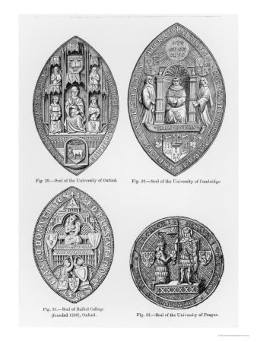 Seals of the University of Oxford, Cambridge, Balliol College, Oxford and University of Prague