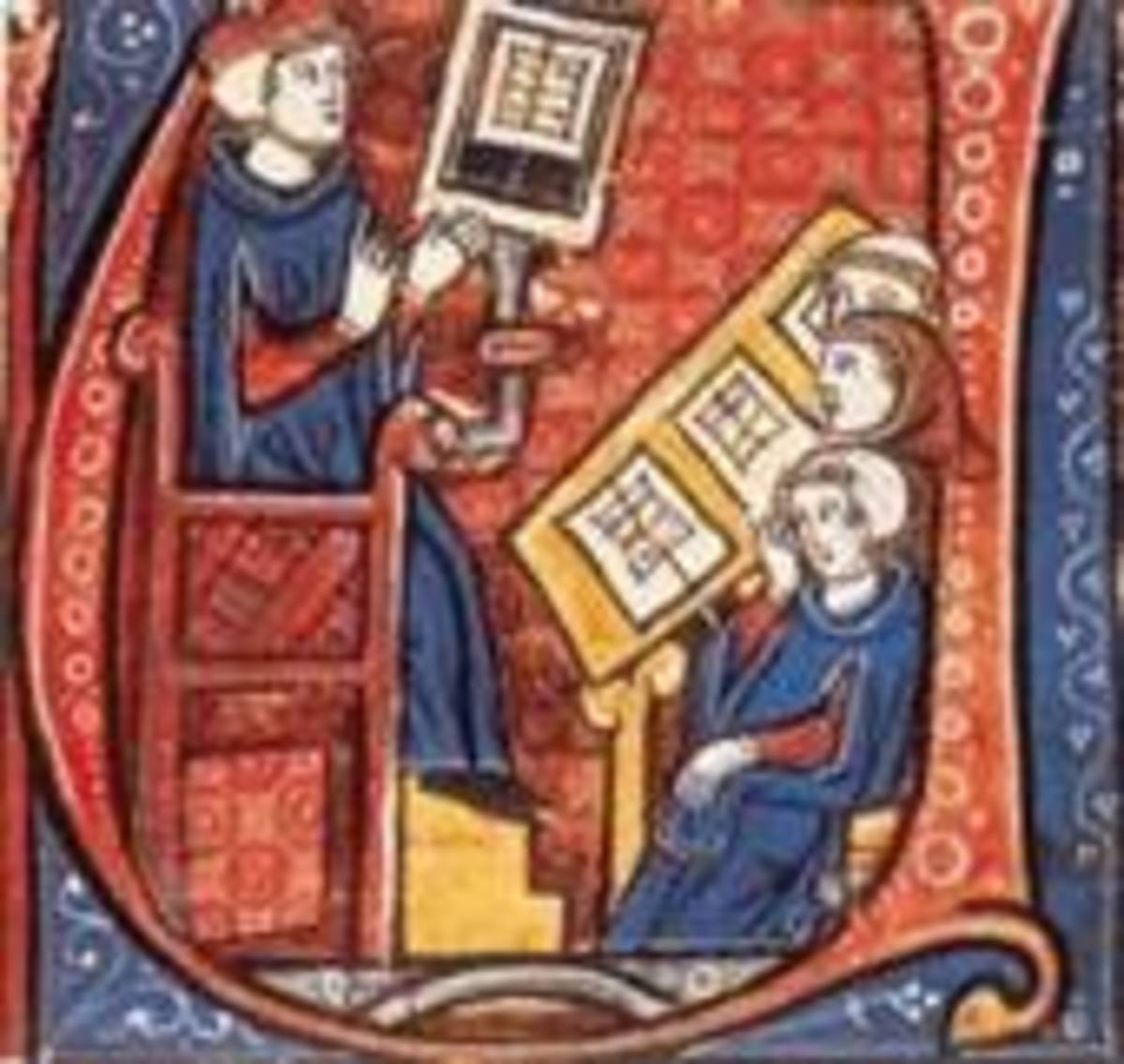 13th-century illuminated manuscript showing students at university