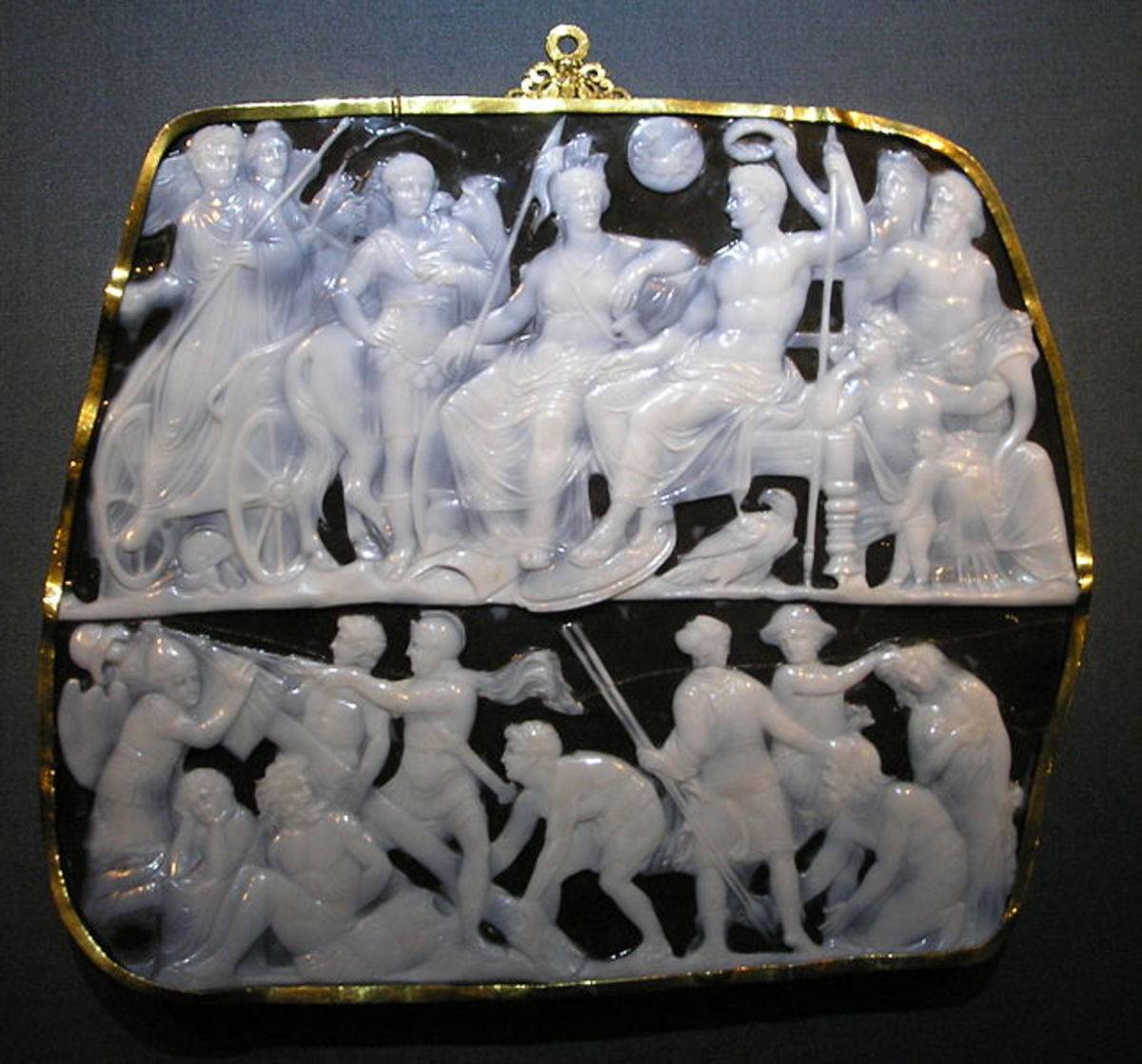 Gemma Augustea cameo, a depiction of Emperor Augustus surrounded by goddesses and allegories.  Collection of Greek and Roman Antiquities in the Kunsthistorisches Museum, Vienna. It made between 10C dan 20C. Size 19 x 23 cm.