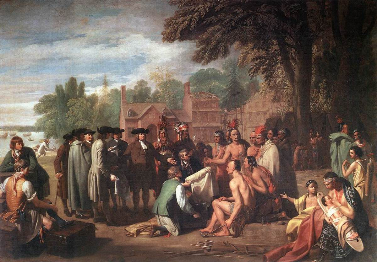 """TREATY OF WILLIAM PENN WITH INDIANS"" BY BENJAMIN WEST"
