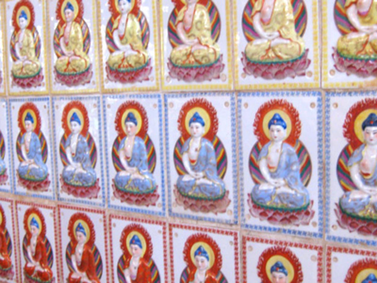 Individually hand painted wall tiles adorn the walls.