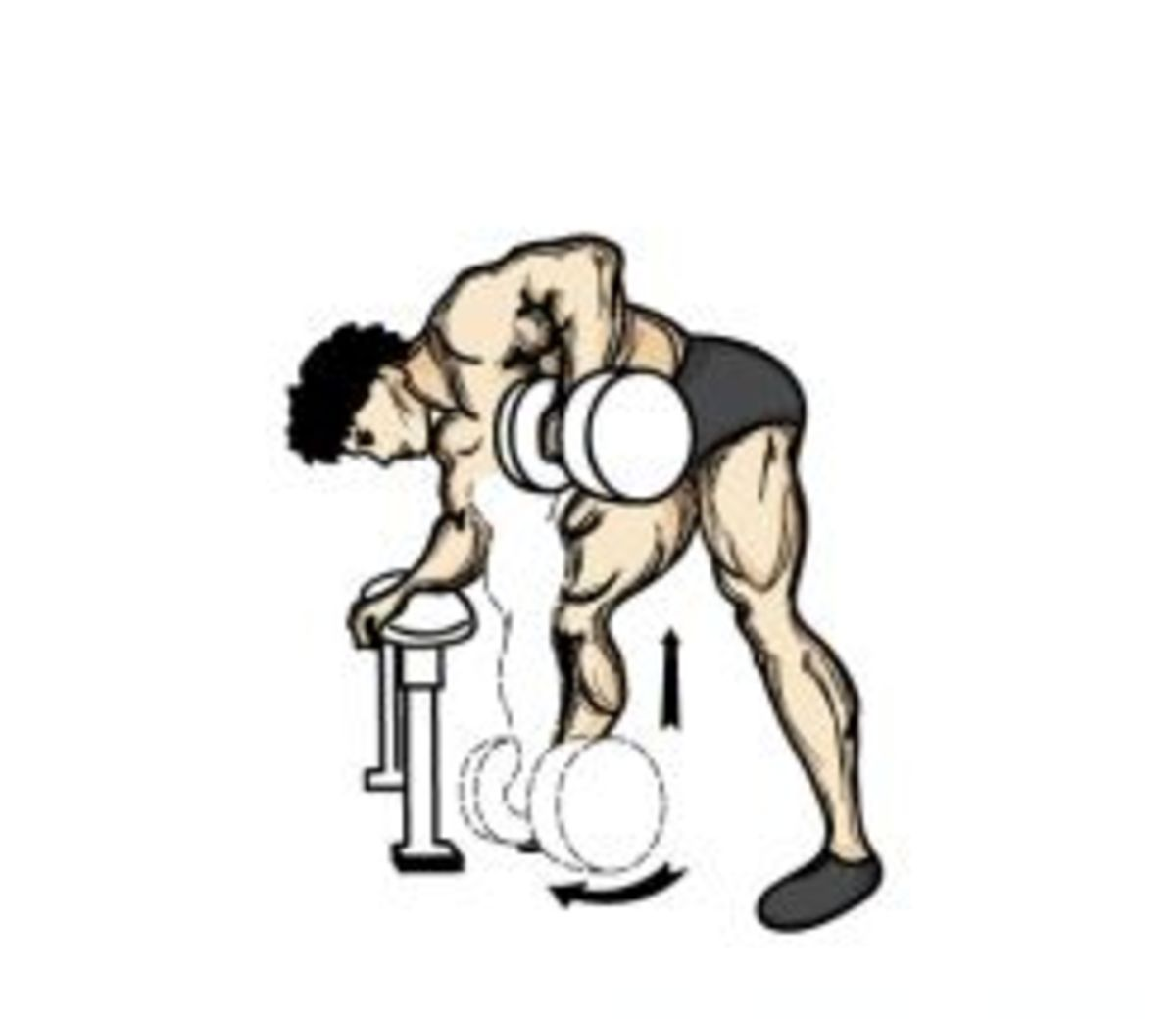Good form for One Arm Dumbbell Row.