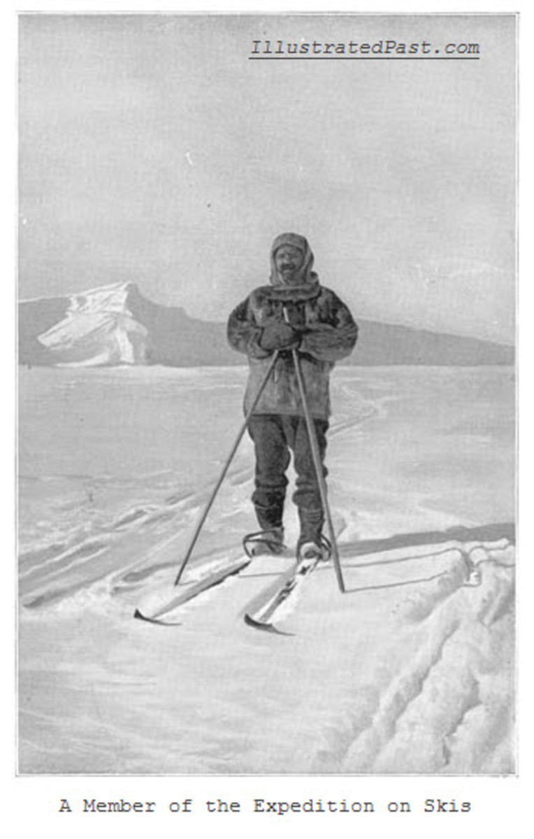 A member of the South Pole expedition on skis.