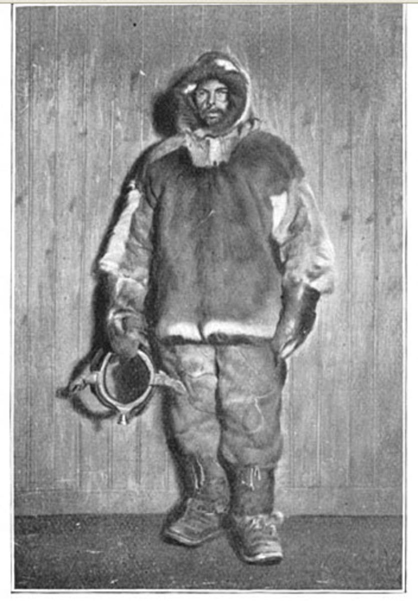 A member of the expedition bundled up in a fur coat.