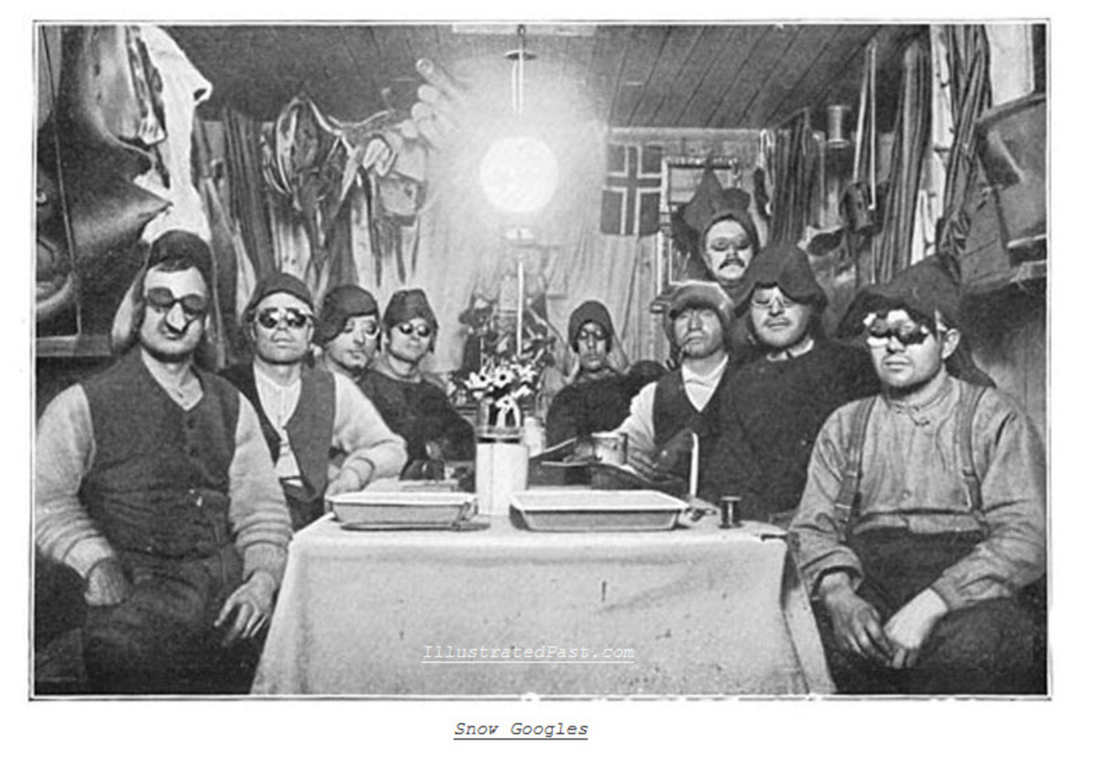 Members of the South Pole Expedition, With Home Made Snow Goggles