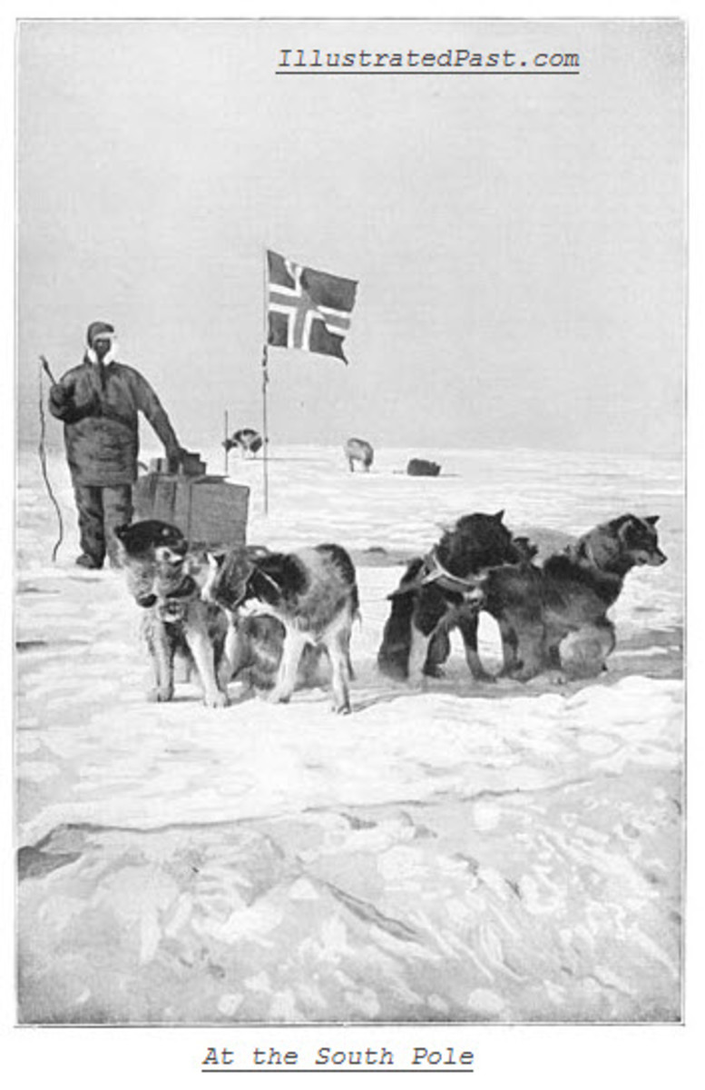 Planting the Norwegian Flag at the South Pole.