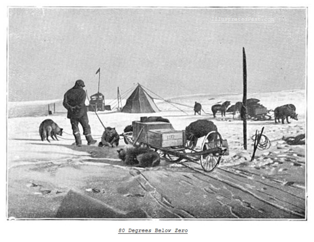 Over 80 Degrees Below Zero. Note the wheel at the back of the dog sled - it is meant to measure the distance traveled which in turn allowed the expedition to tell how far they were from the South Pole