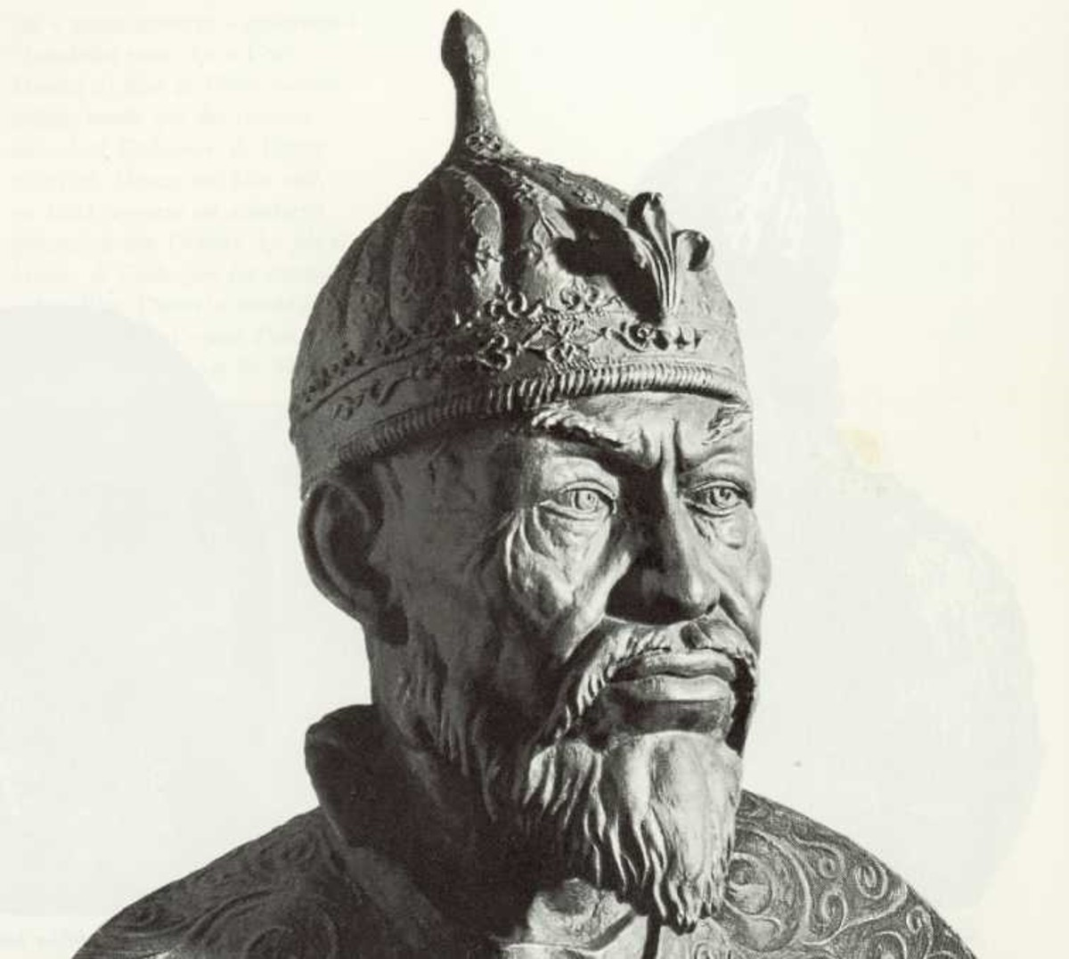 A reconstruction of Tamerlane's face from his skull.