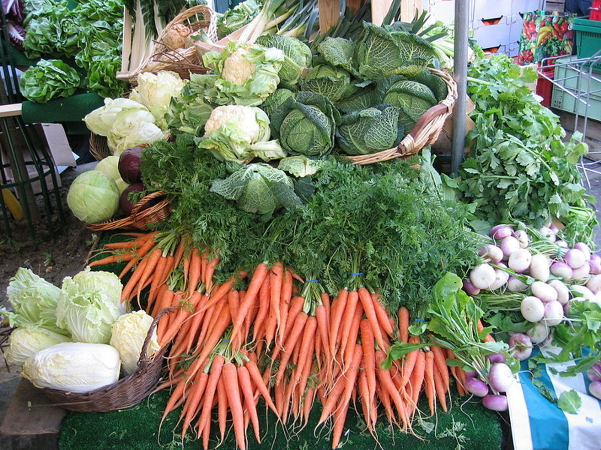 Raw vegetables in a market
