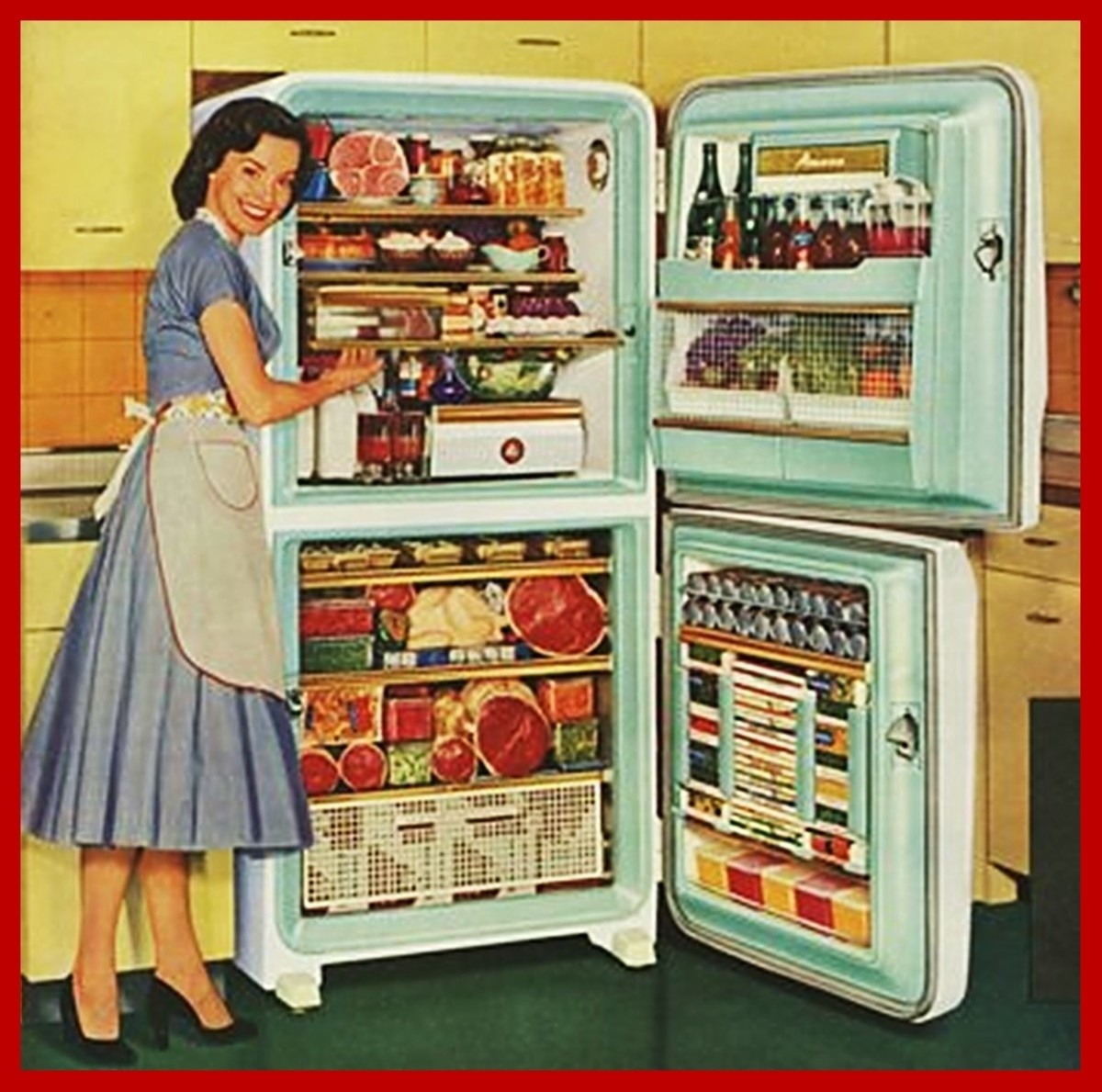 I'd be happy, too, if my fridge were that full!