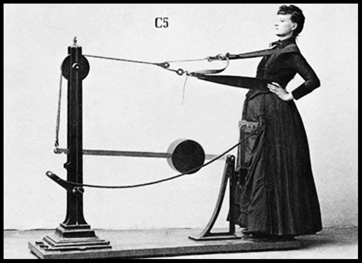 Now this, ladies, is a home gym. Pilates hoop skirt and whalebone corsette sold separately.