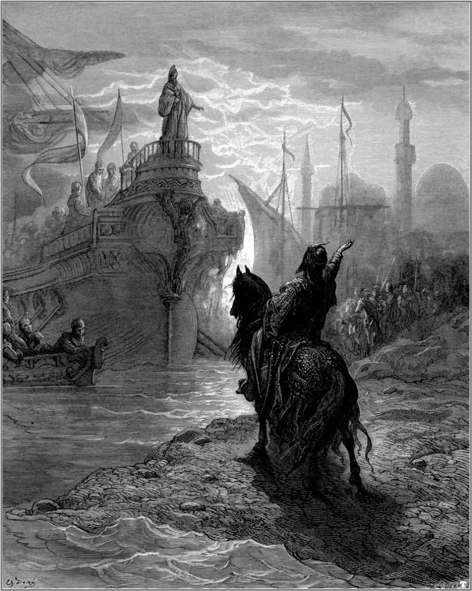 """MOURZOUFLE PARLEYING WITH DANDALO"" FROM ""THE CRUSADES"" BY GUSTAVE DORE"