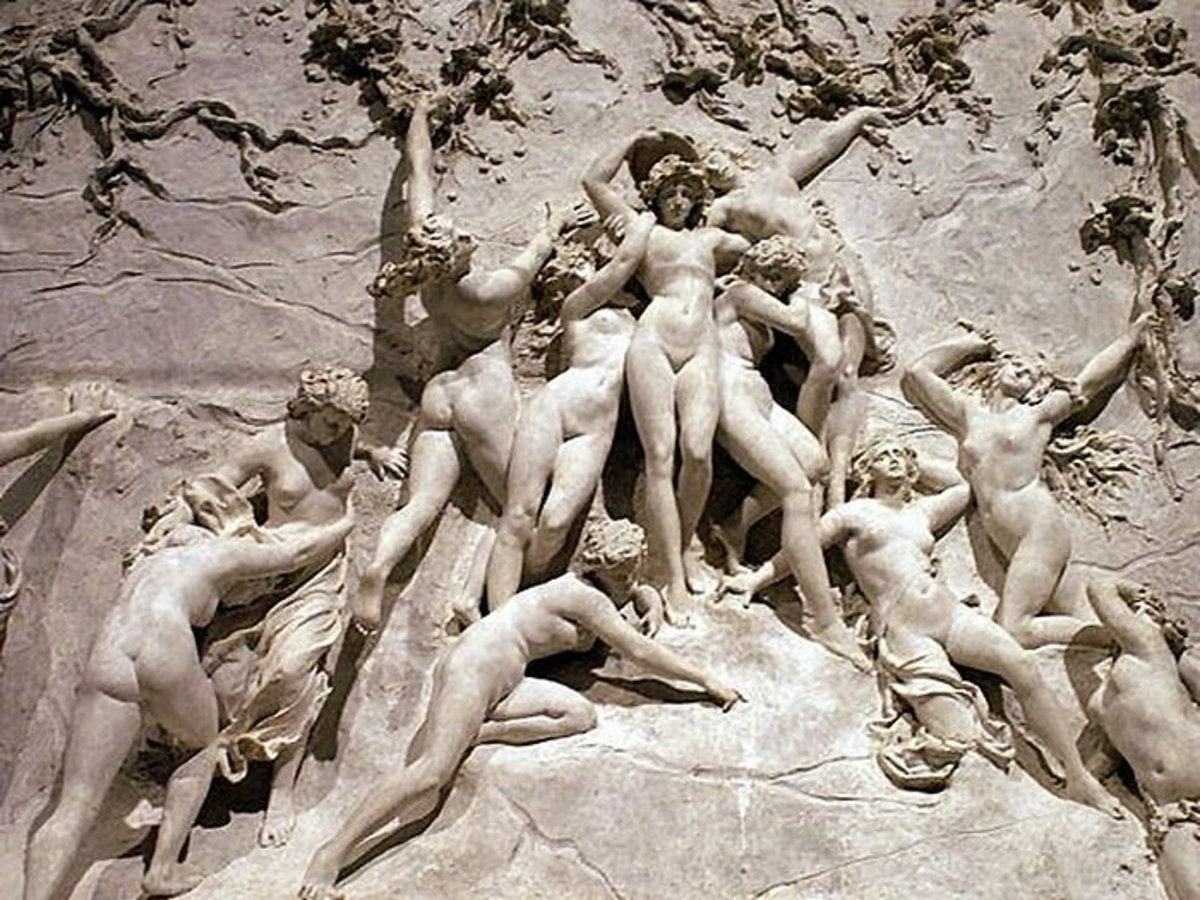 """MAIDENS"" SCULPTURE IN WOOD BY GUSTAVE DORE"