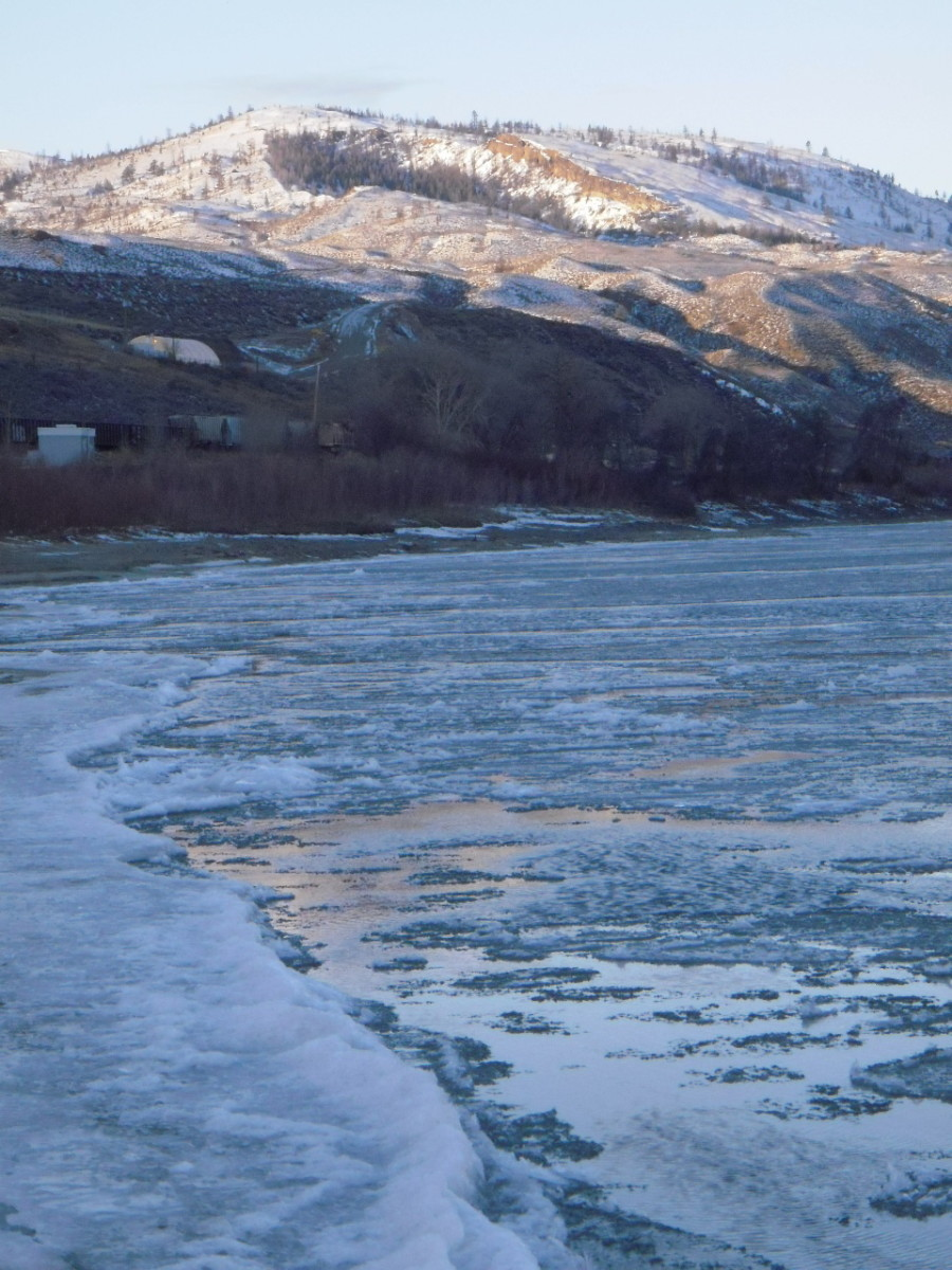 The fast current pulls the ice downstream.