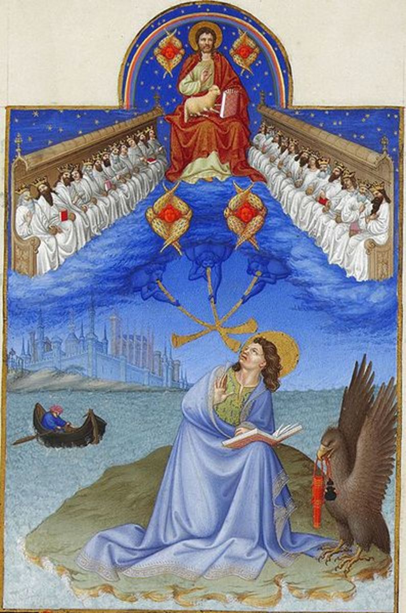 """The Apostle John on Patmos receiving Revelation"" -by Heures du duc de Berry - Museum Cond - Chantilly"