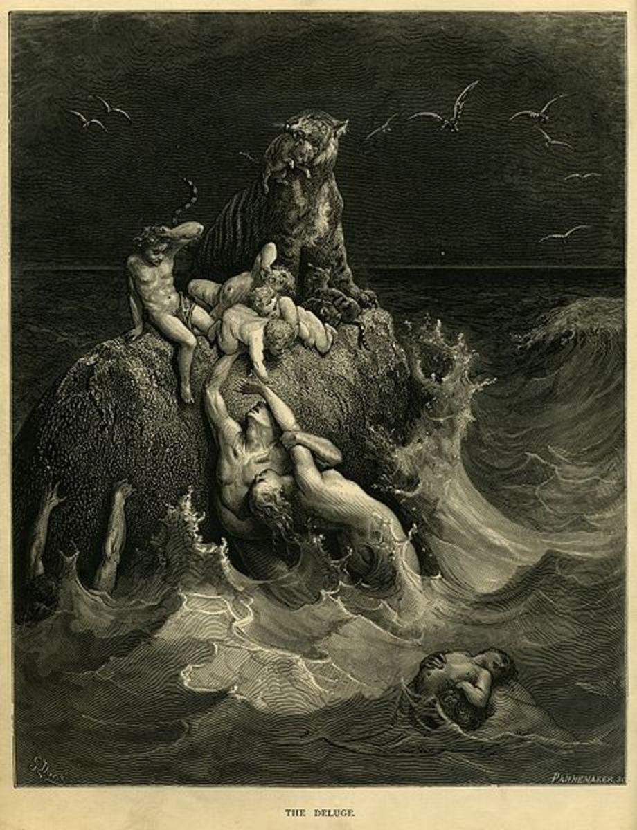"""""""The Great Deluge"""" - by Gustave Dore - from the illustrated edition of the Bible (1866)"""
