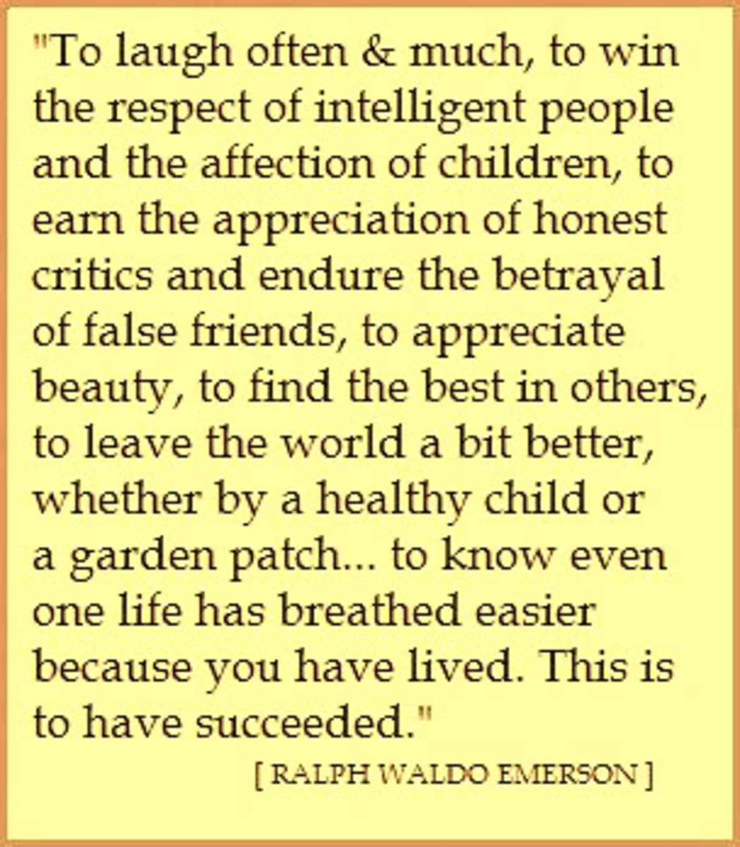 """what is true success ralph By railing against conformity, ralph waldo emerson taught a new way of life through his many essays and lectures on self-reliance, self-improvement and self -realization emerson wrote, noting that the """"true romance which the world exists to realize will be the transformation of genius into practical power."""
