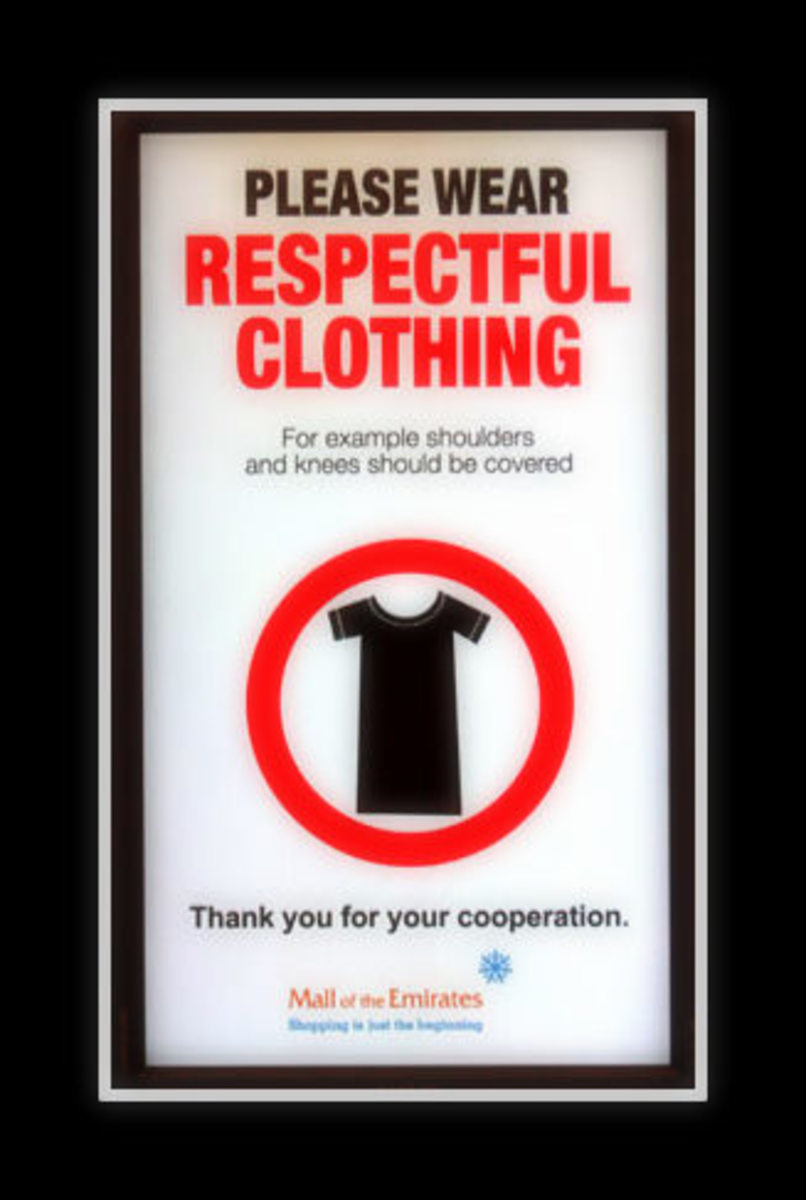 A lot of malls have signs up requesting people to wear respectable clothing.