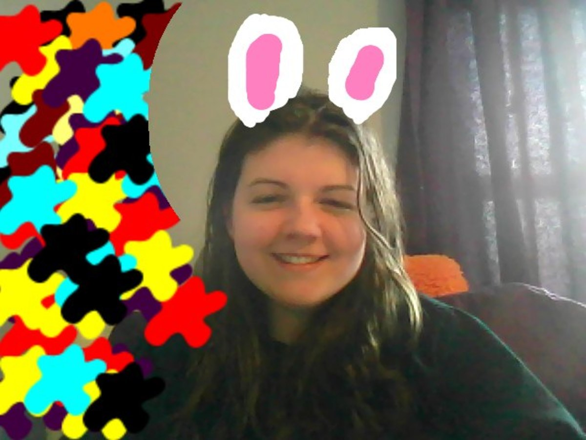 This is a good example of how my left eye 'retracts'...please ignore the bunny ears and the fancy colors. I got a little too bored.