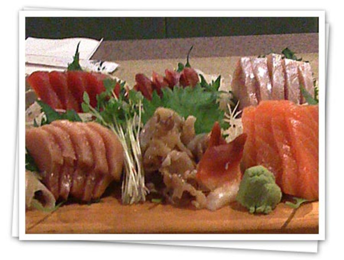 A traditional plate of Korean sashimi.