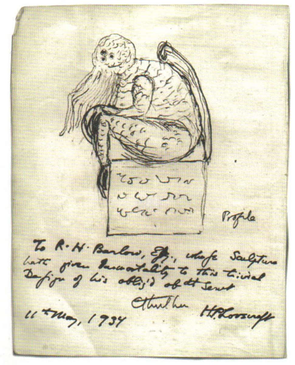 A sketch of the fictional character Cthulhu, drawn by his creator, H. P. Lovecraft.