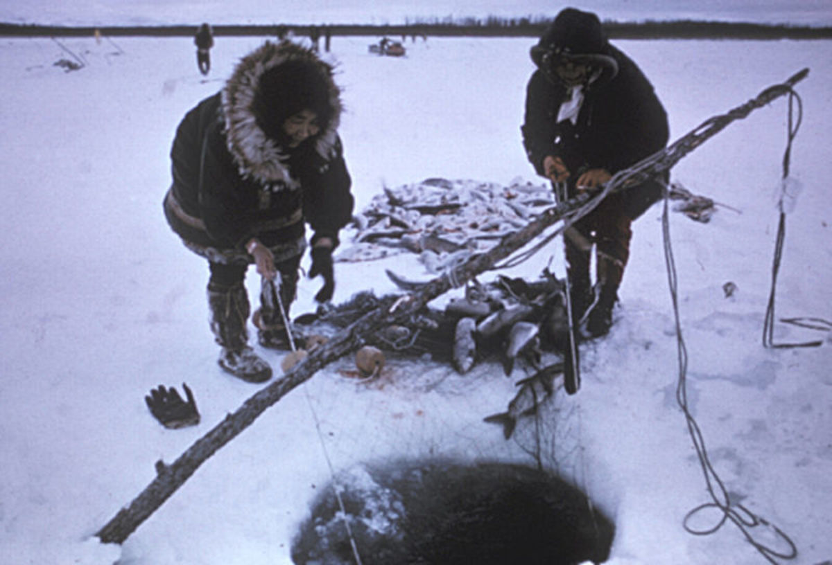 Inupiat fishing for sheefish at Selawik National Wildlife Refuge, Alaska