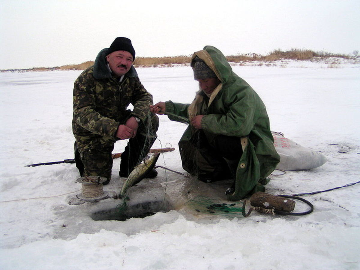 Ice fishing in Kazakhstan