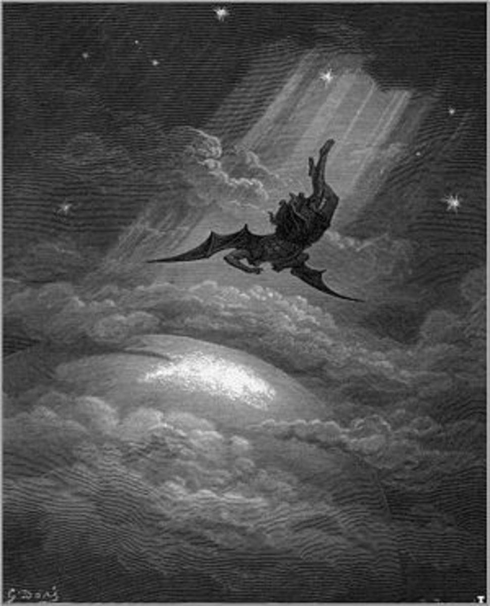 Illustration for John Miltons Paradise Lost by Gustave Dore, 1866 ~ 'a faithful photographic reproduction of an original two-dimensional work of art' which is in the public domain - out of copyright.
