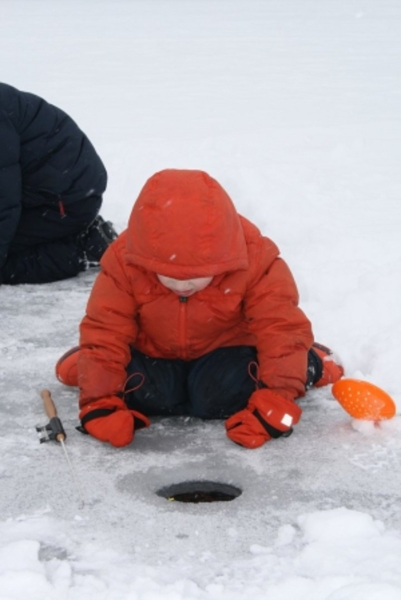 A child checks for action beneath the surface while ice fishing at Upper Mississippi River National Wildlife and Fish Refuge.