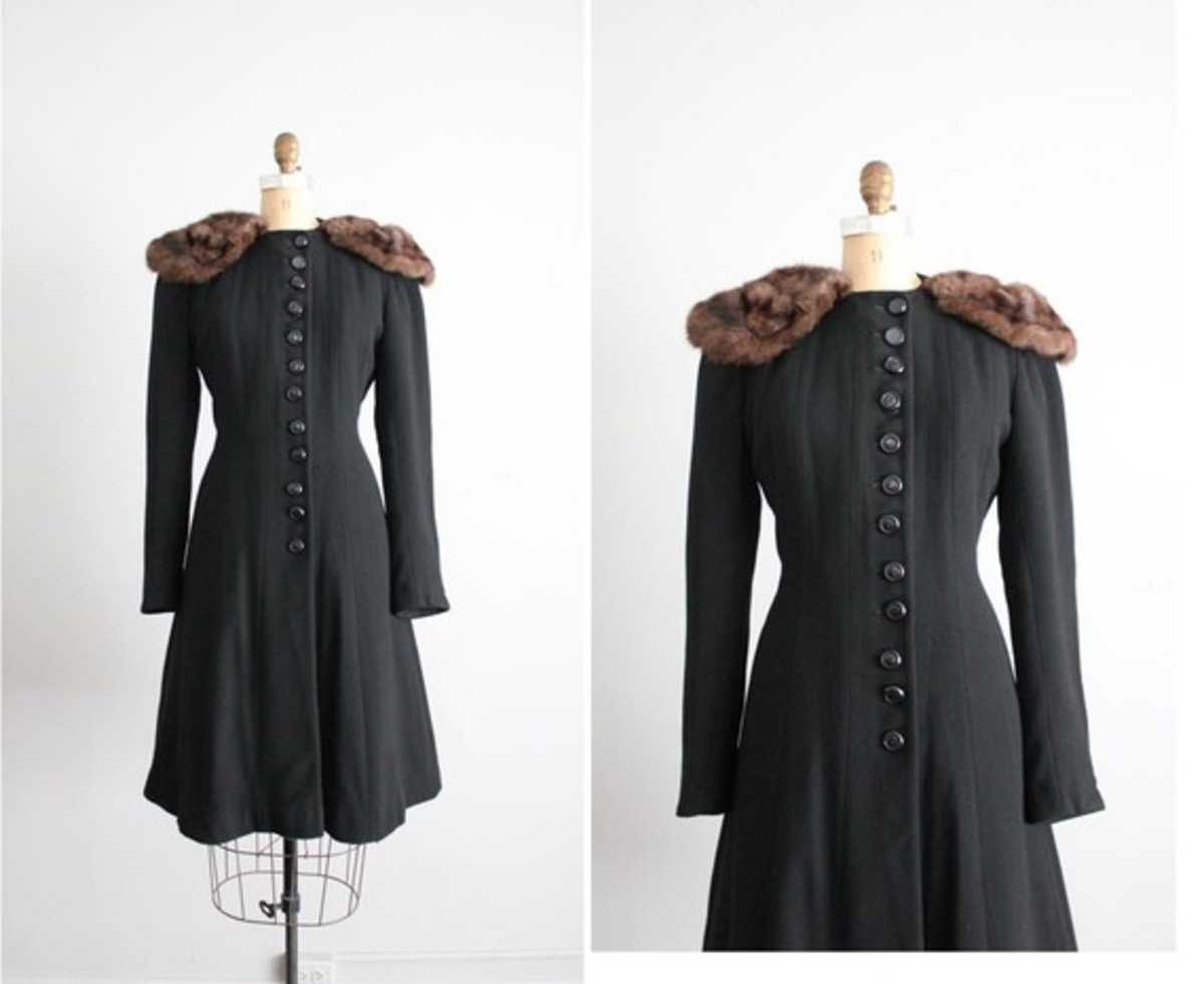 Vintage '30s fur collar princess coat by Allen Company Inc. on etsy.com