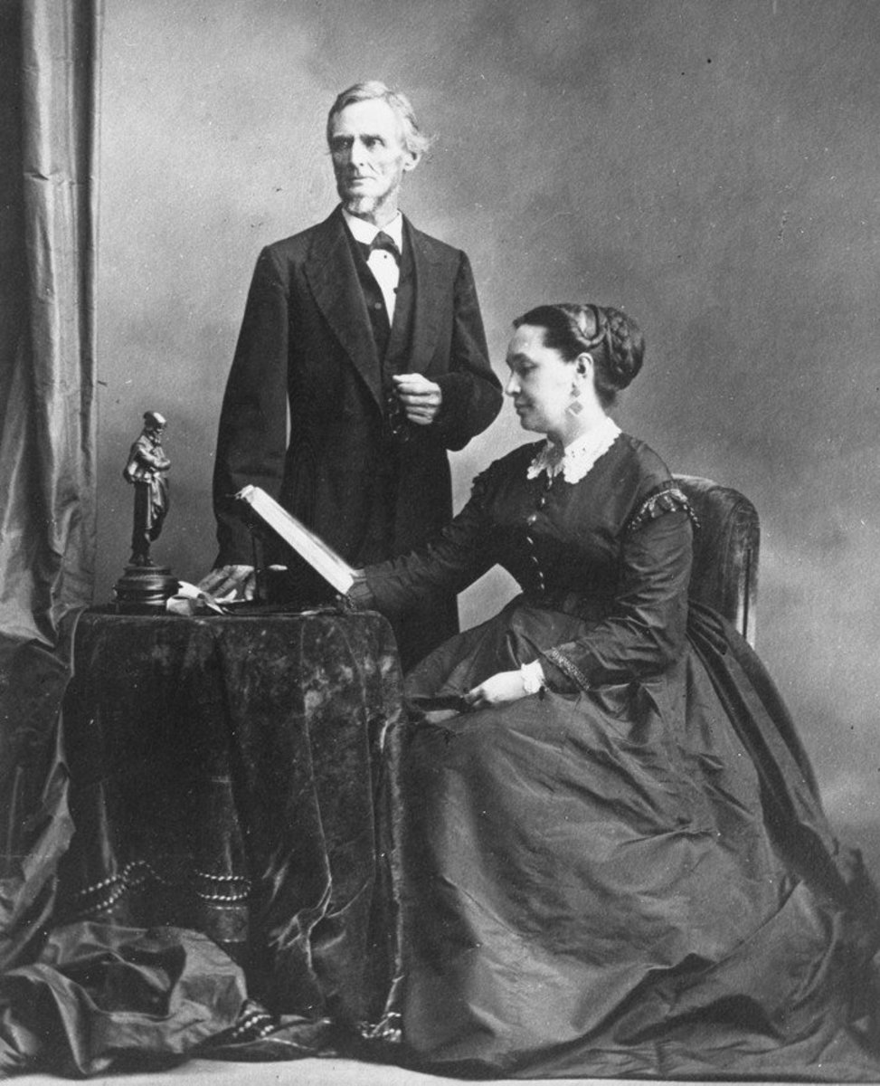 Photo of Jefferson Davis and Varina Howell Davis, Wife of Jefferson Davis. Jefferson Davis met miss Howell in 1835 and they were married in  1845.