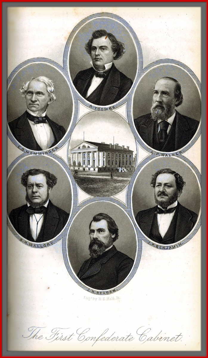 The First Confederate States of America Cabinet of 1861 Attorney-General Benjamin, Secretary of State Mallory, Secretary Memminger, Secretary Walker, President Jefferson Davis, Postmaster Reagan, and Secretary Toombs