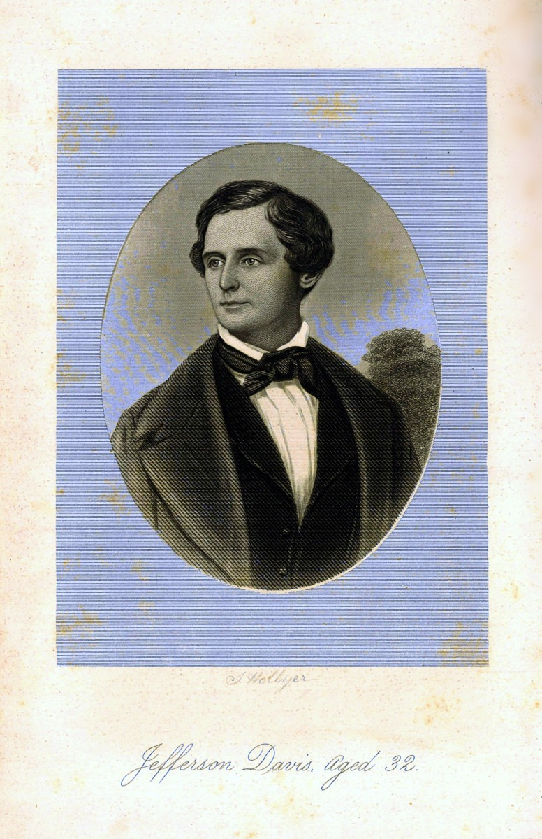 Beautiful Portrait Plates are in this amazing two-volume first edition set by Jefferson Davis. The one above shows him at the age of  32 back in happier days.