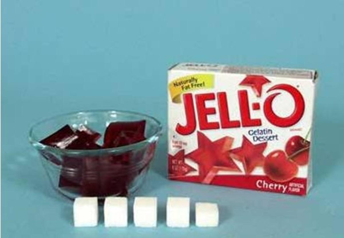 Equivalent sugar in dish of jell-o