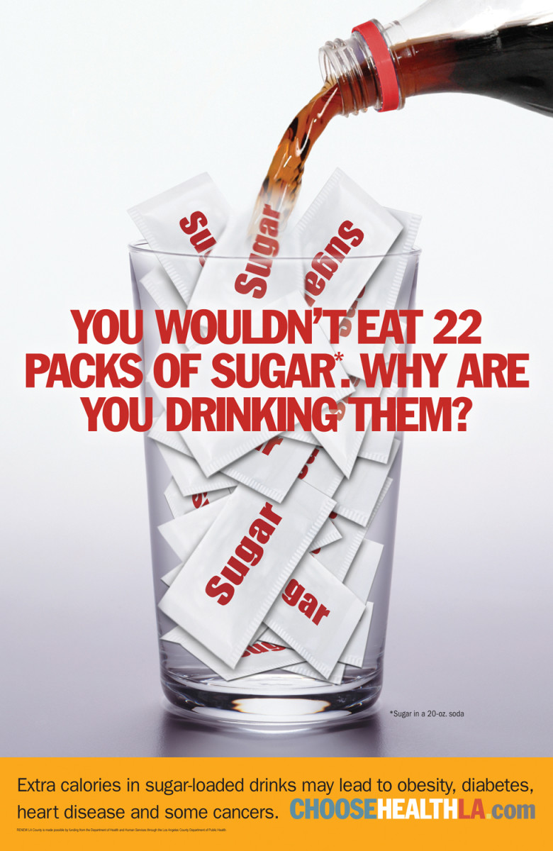 Calorie Poster Showcasing Sugar in Soda Pop