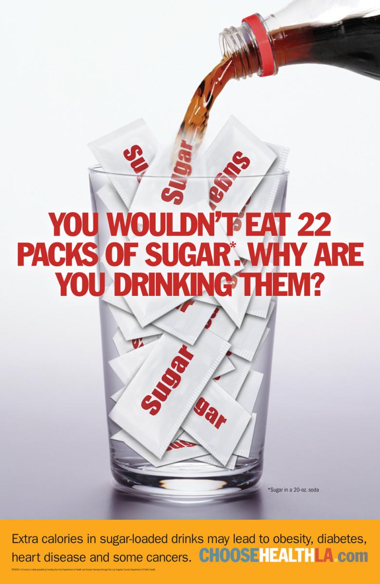 Calorie Poster Showcasing Sugar in Soda Pop
